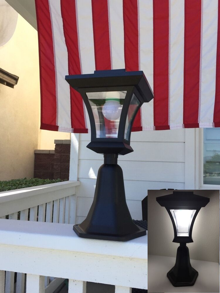 Outdoor Landscape Lighting Garden Post : Solar powered fence gate lamp post light outdoor garden yard