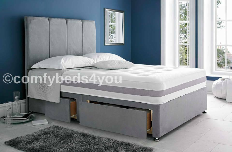 Grey suede divan bed base 4ft6 small double single for Grey divan bed base