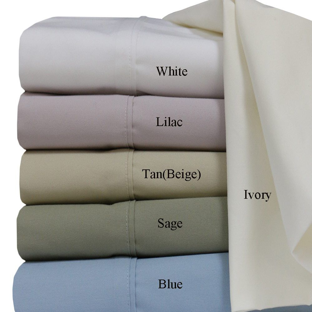 Cotton Percale Weave Solid Sheet Set 300 Thread Count Deep