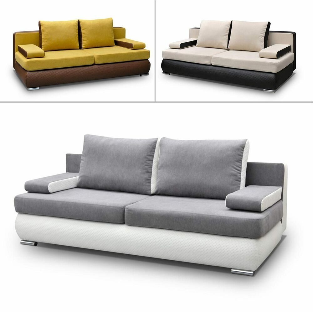 schlafsofa joel mit bettkasten gro e farbauswahl sofa couch schlafcouch modern ebay. Black Bedroom Furniture Sets. Home Design Ideas