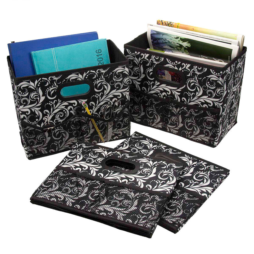 4 foldable home fabric storage bins collapsible box for Fabric storage