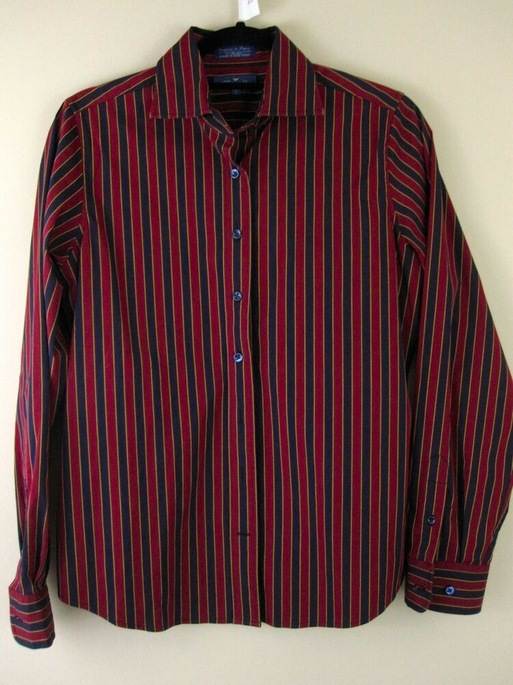 Faconnable shirt small red navy striped button down womens for Womens patterned button down shirts