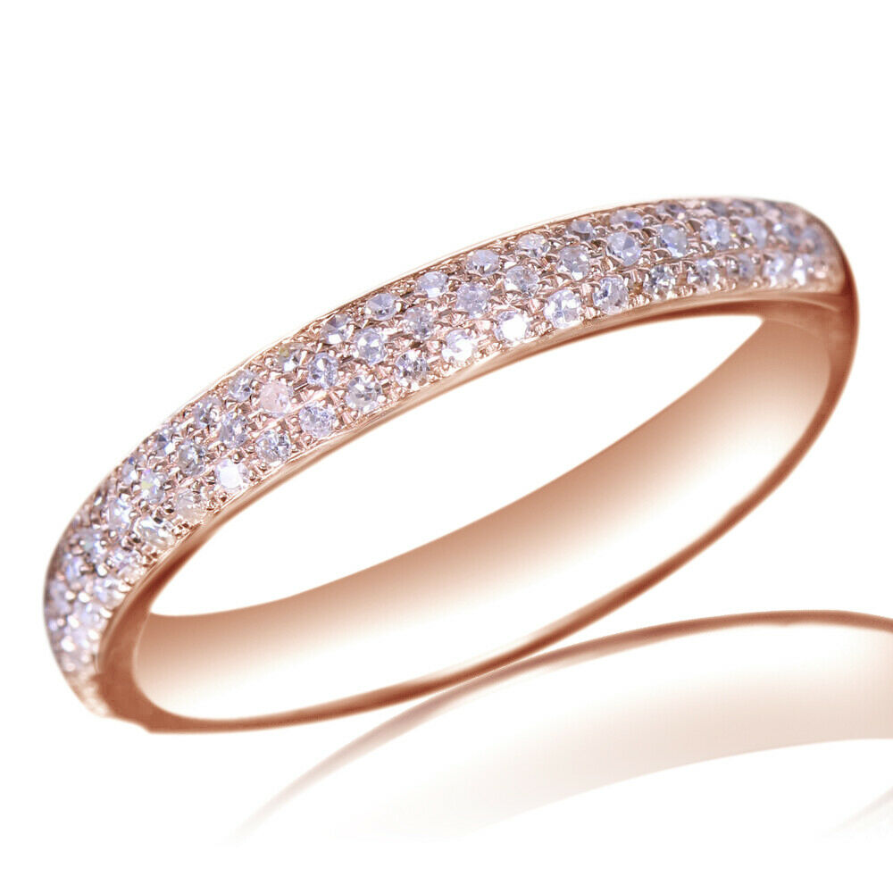 pave diamond wedding half eternity band engagement ring With rose gold wedding band engagement ring