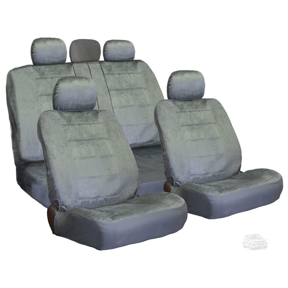 premium grade grey velour fabric car seat covers set for vw ebay. Black Bedroom Furniture Sets. Home Design Ideas