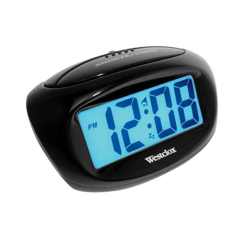 new westclox lcd alarm clock 70043x battery powered black digital ebay. Black Bedroom Furniture Sets. Home Design Ideas