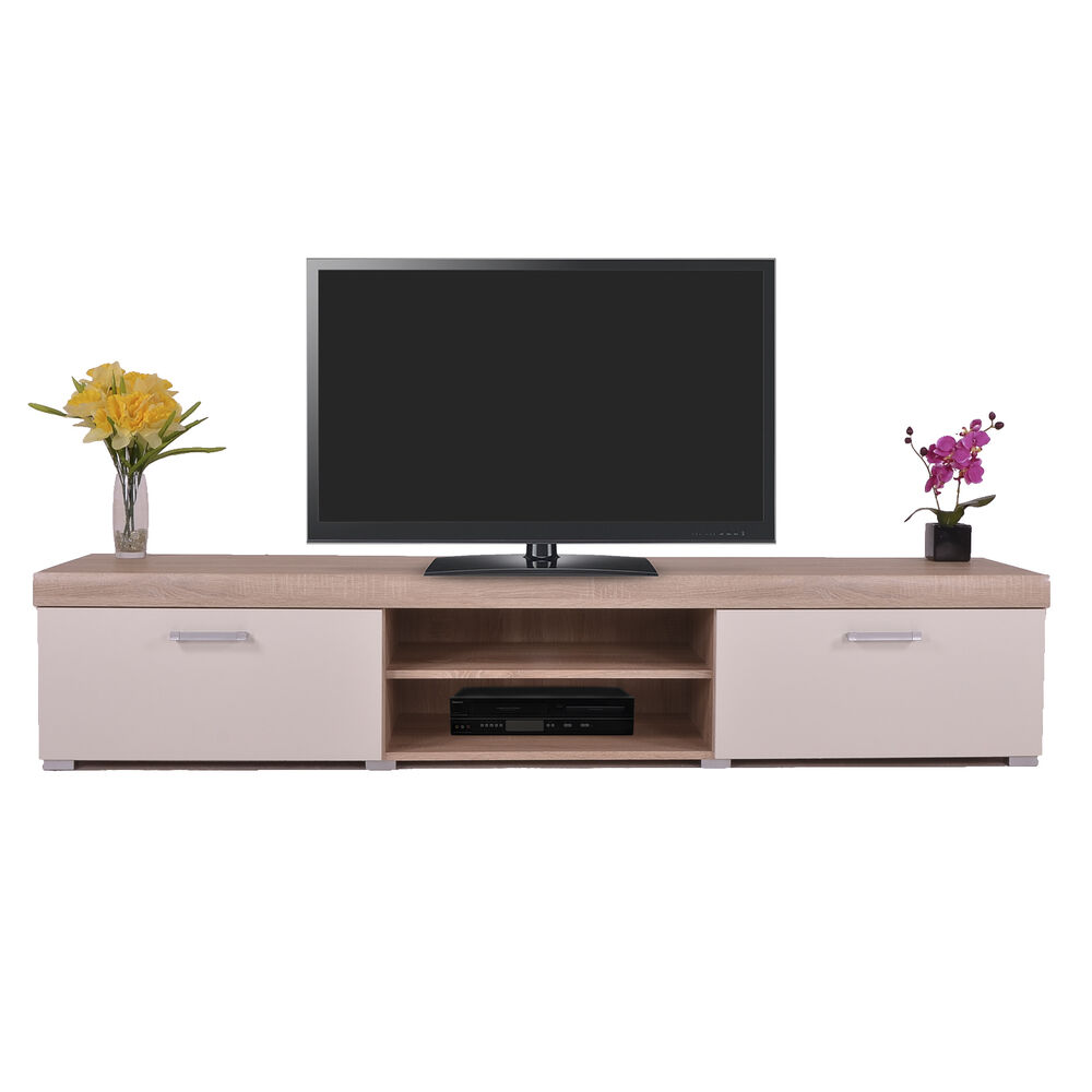 2 Metre White Amp Sonoma Oak Effect 2 Door Tv Cabinet Plasma
