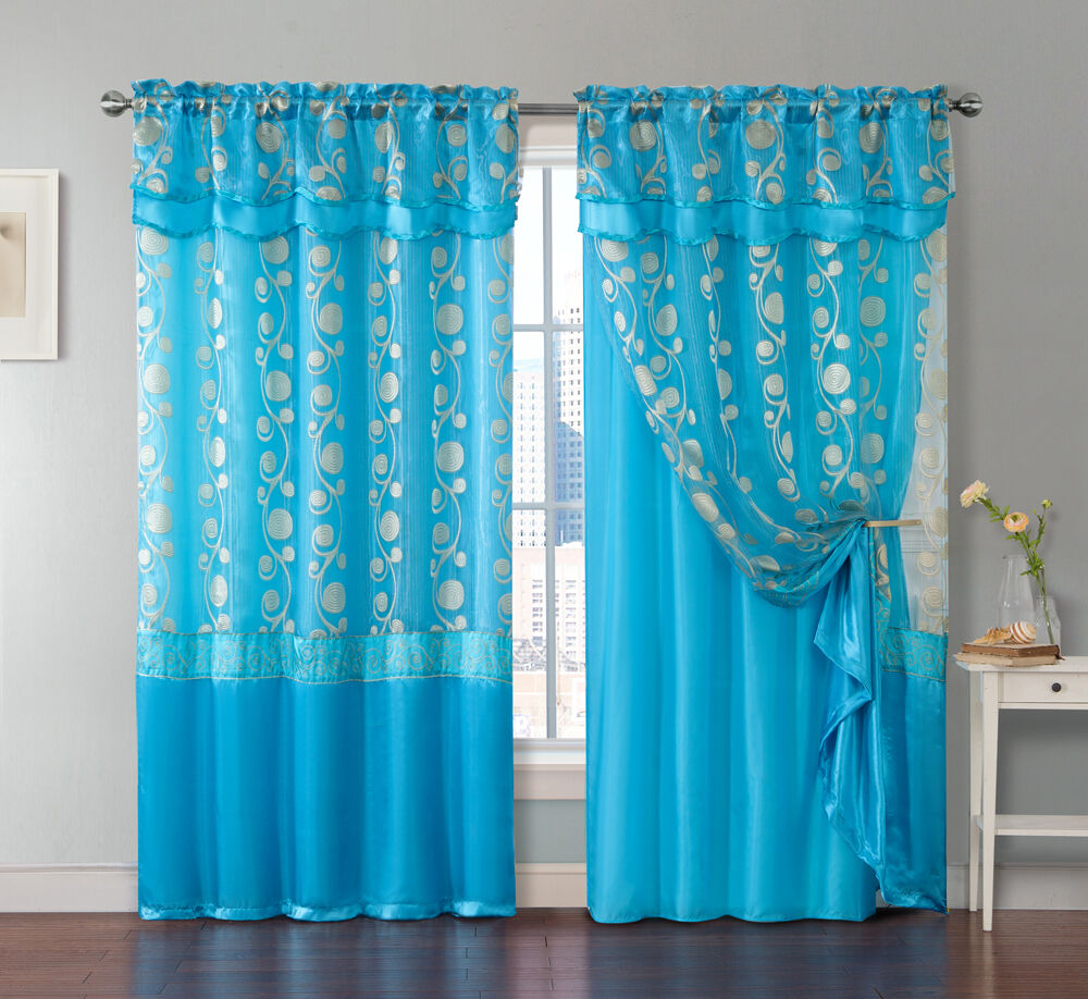 One Piece Blue Window Curtain Panel Attached Valance And
