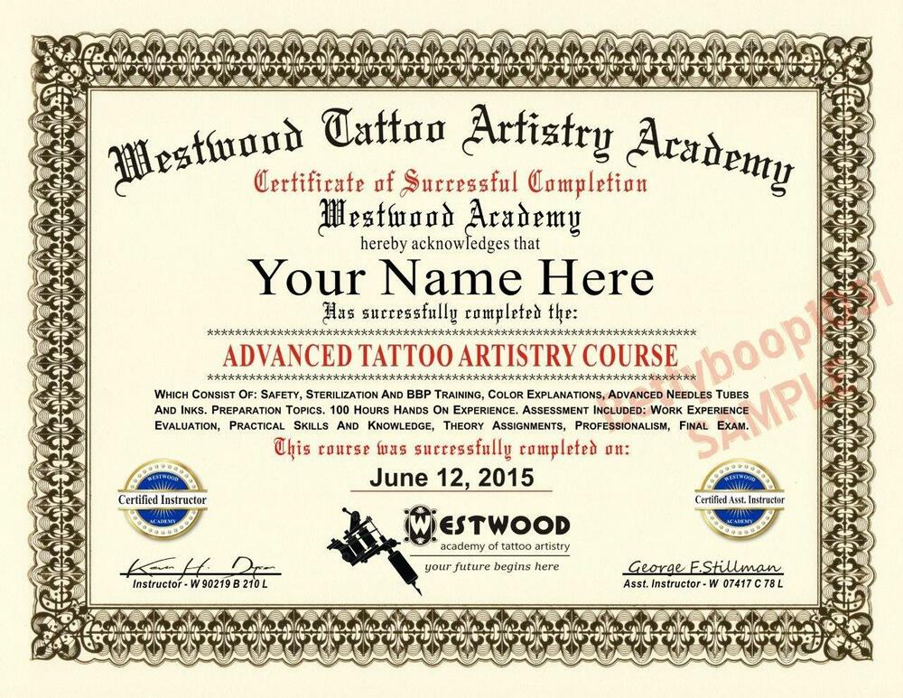 Diploma tattoo artistry academy course certificate prop for Tattoo classes online free