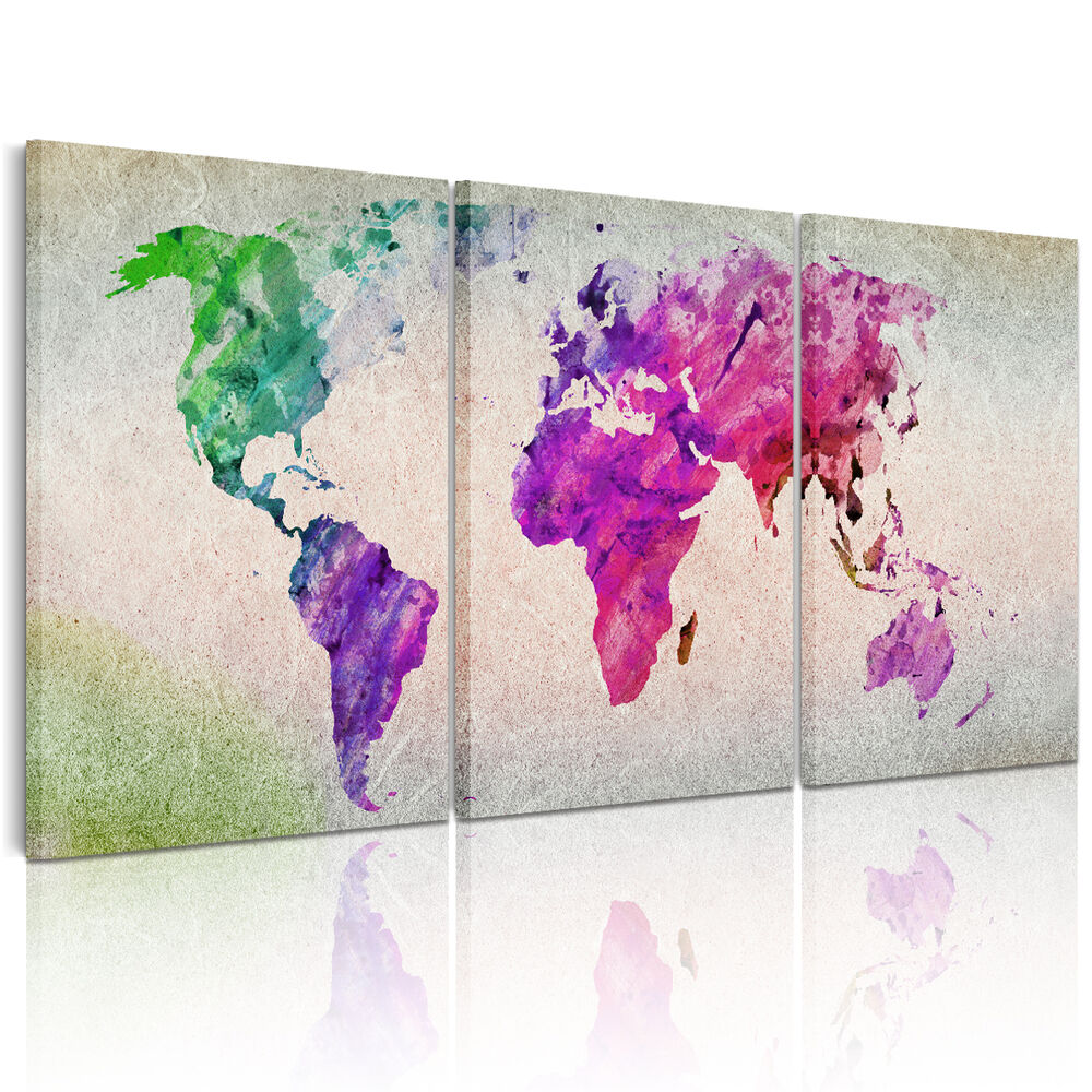 Hd colorful map canvas prints home decor paintings large for Large colorful wall art