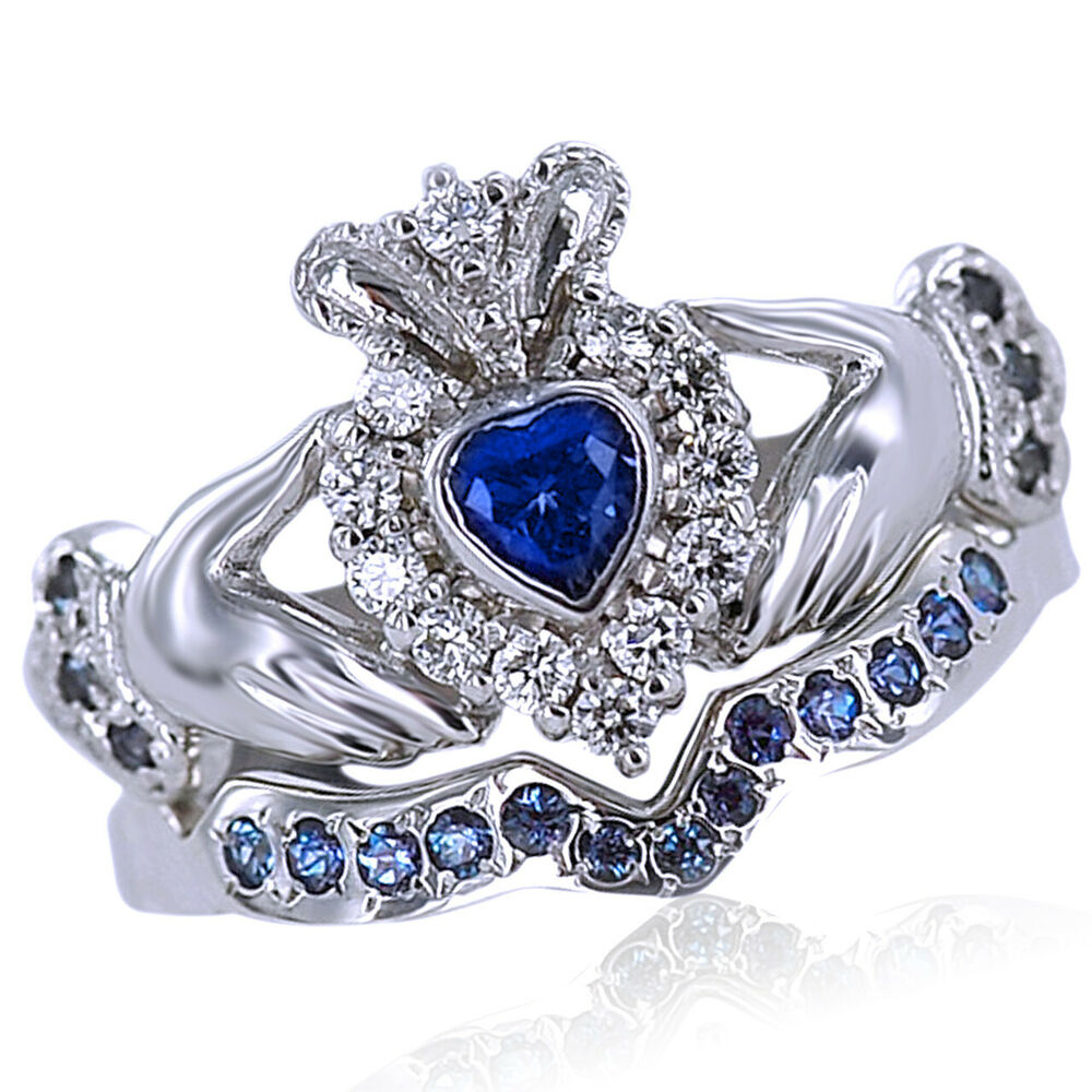 Heart Shape Sapphire And Natural Diamond Bridal Set