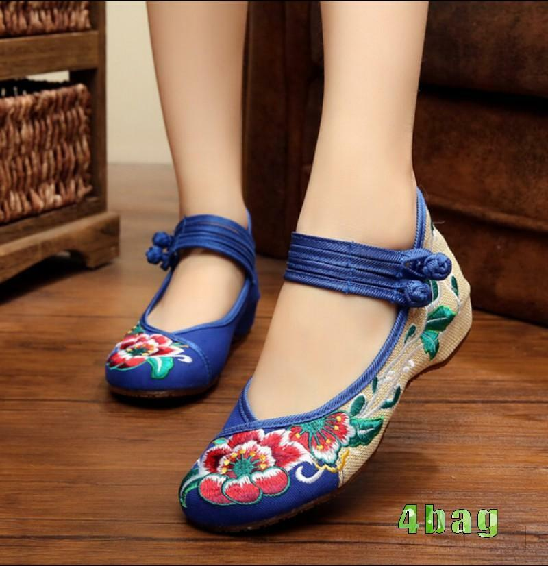 Womens Chinese Embroidered Flower Ladies Flat Shoes Mary ...