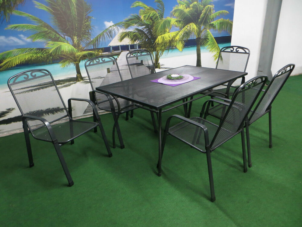 streckmetall gartenm bel set sitzgruppe garten garnitur wetterfest lounge p22 ebay. Black Bedroom Furniture Sets. Home Design Ideas