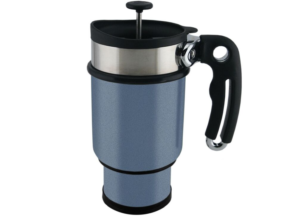 planetary design coffee travel mug double shot french press stainless steel blue 645771000103 ebay. Black Bedroom Furniture Sets. Home Design Ideas