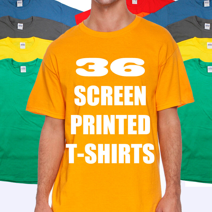 36 custom screen printed t shirts one color ink gildan 100 cotton tee ebay. Black Bedroom Furniture Sets. Home Design Ideas
