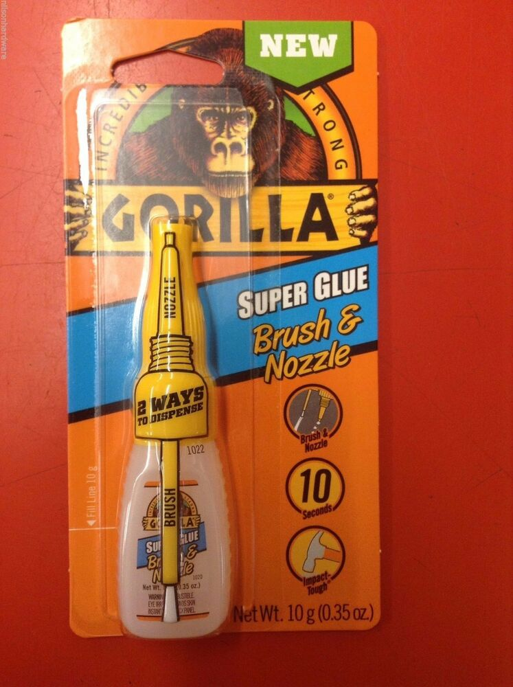 gorilla super glue brush 10g clear metal rubber impact strong anti clog ebay. Black Bedroom Furniture Sets. Home Design Ideas