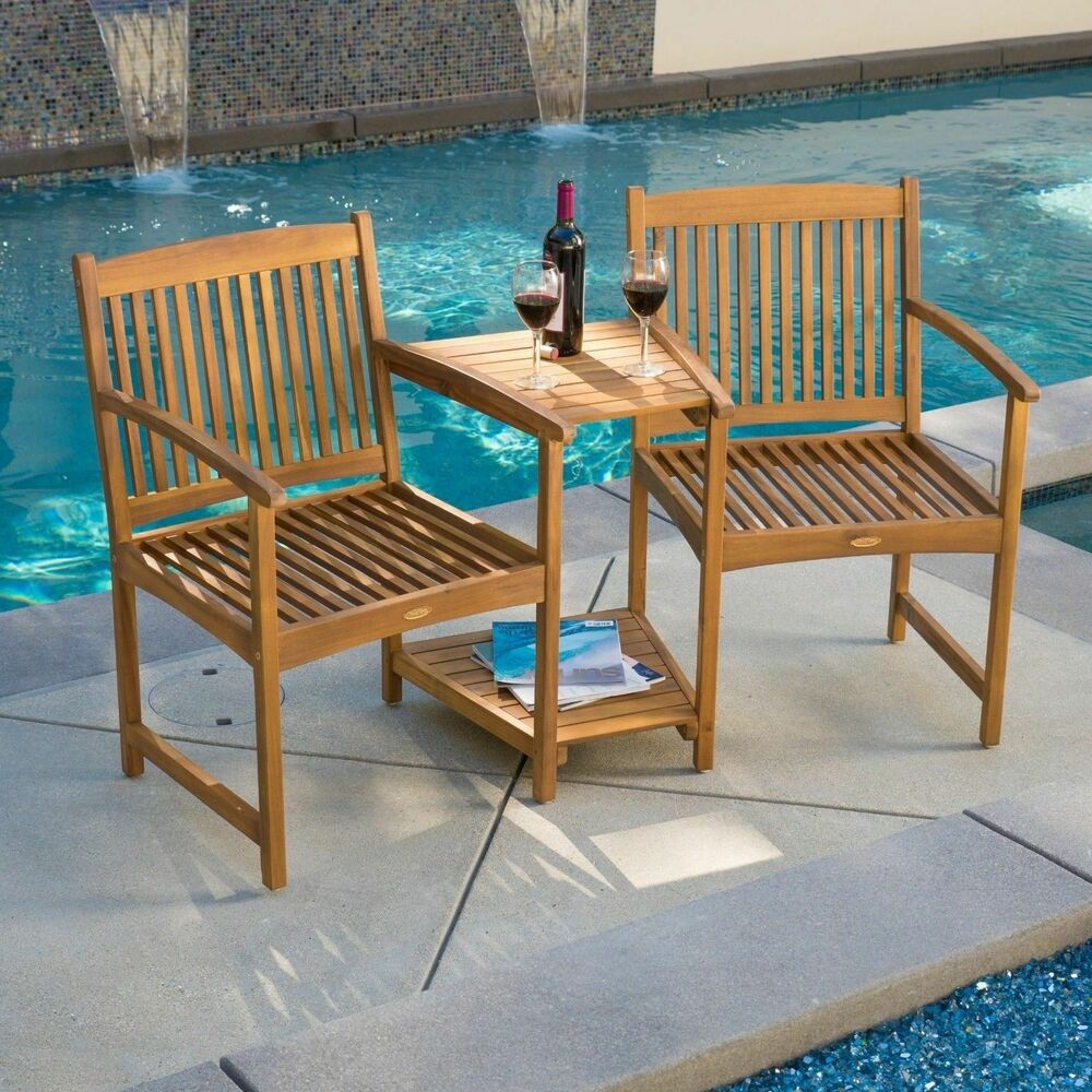 Outdoor patio furniture adjoining chairs table two for Outdoor furniture bench