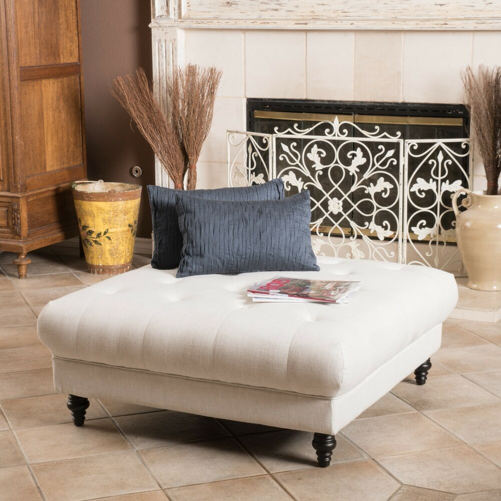 Ottoman coffee table ebay elegant fabric tufted ottoman footstool coffee table geotapseo Images