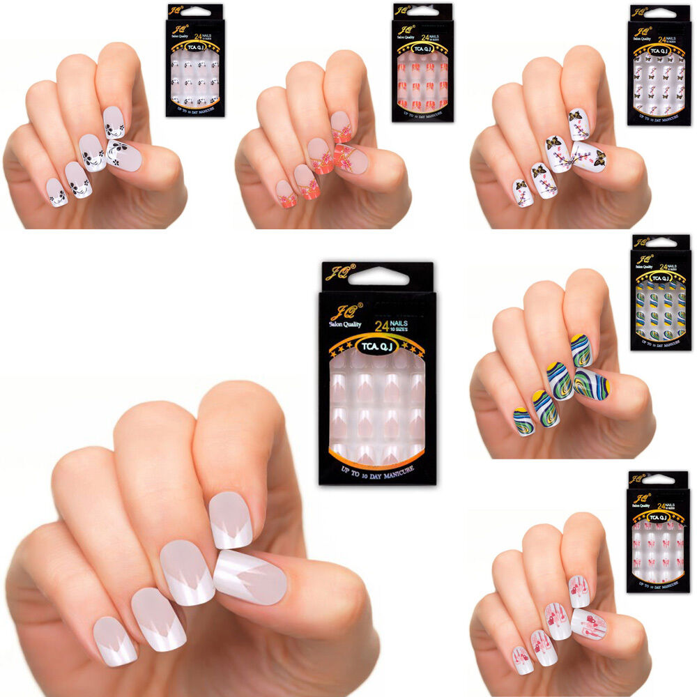 Nail Polish Tips: 24 Pcs New French Manicure Nail Art Tips Polish DIY Full