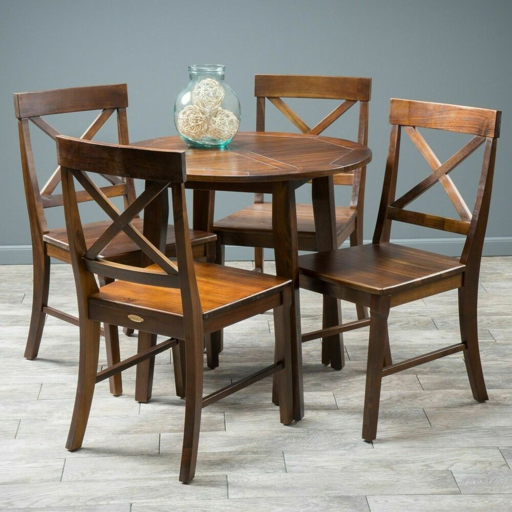 Wooden Dining Table Set: Dining Room Furniture 5pc Mahogany Stained Wood Round