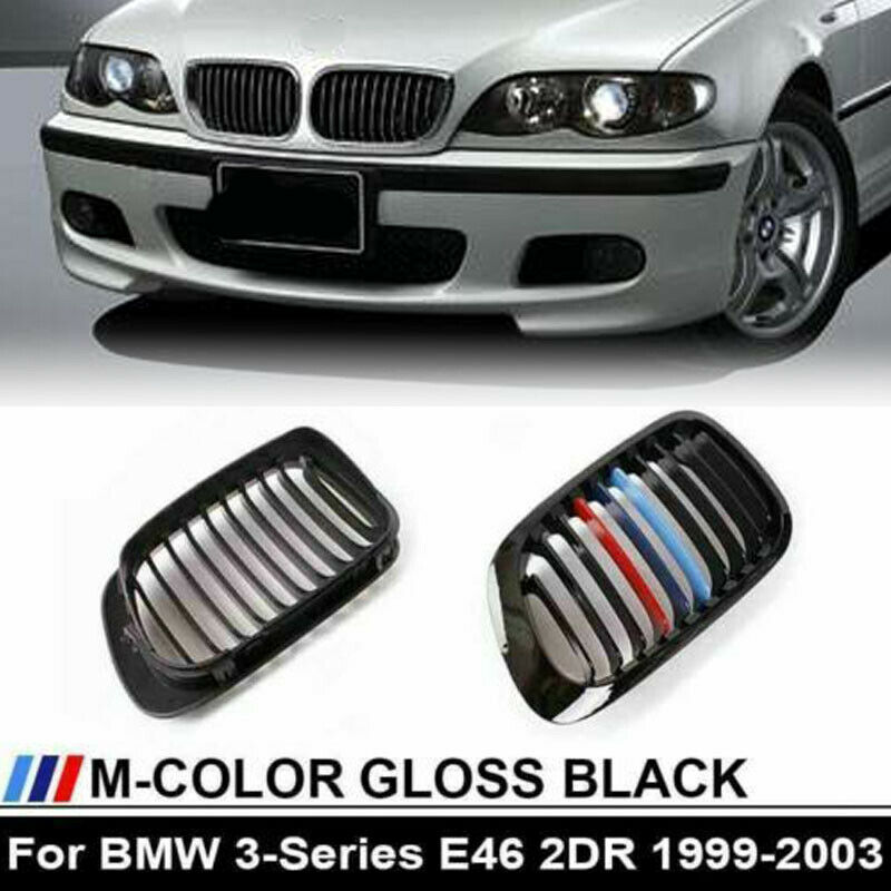 m style gloss black kidney grill grille f bmw e46 m3 3. Black Bedroom Furniture Sets. Home Design Ideas
