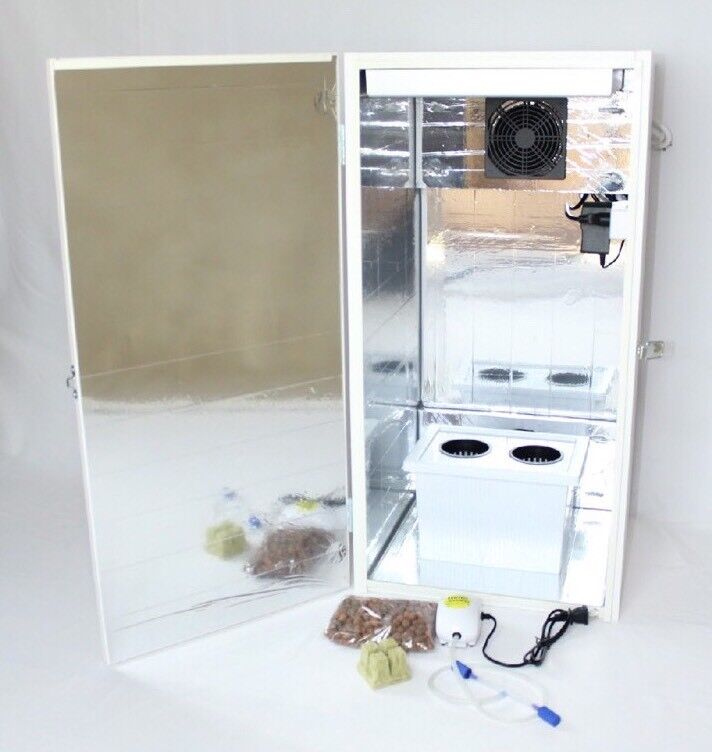 led grow box stealth 2 medium plant site hydroponic cabinet with carbon filter ebay. Black Bedroom Furniture Sets. Home Design Ideas