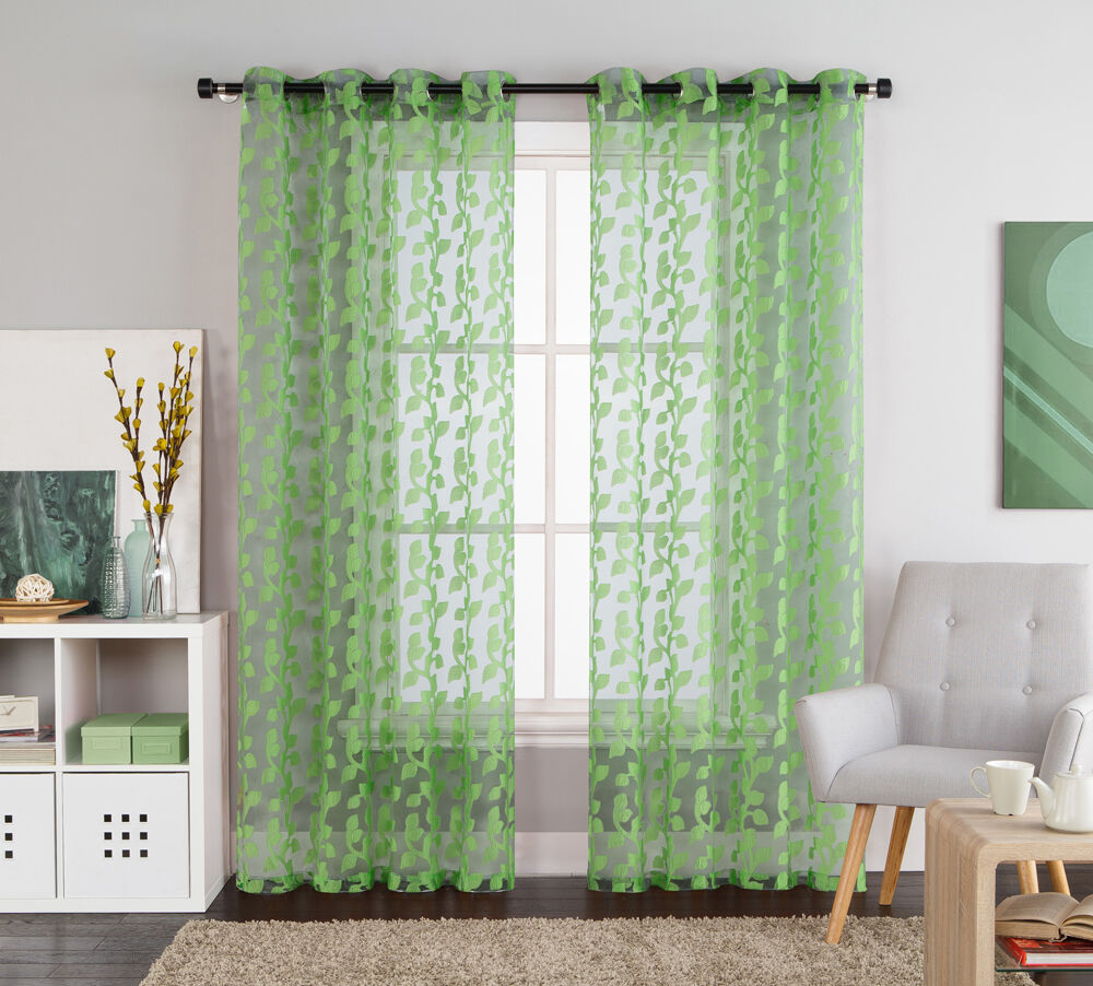 Green Leaves Clipped Sheer Grommet Window Curtain Panel