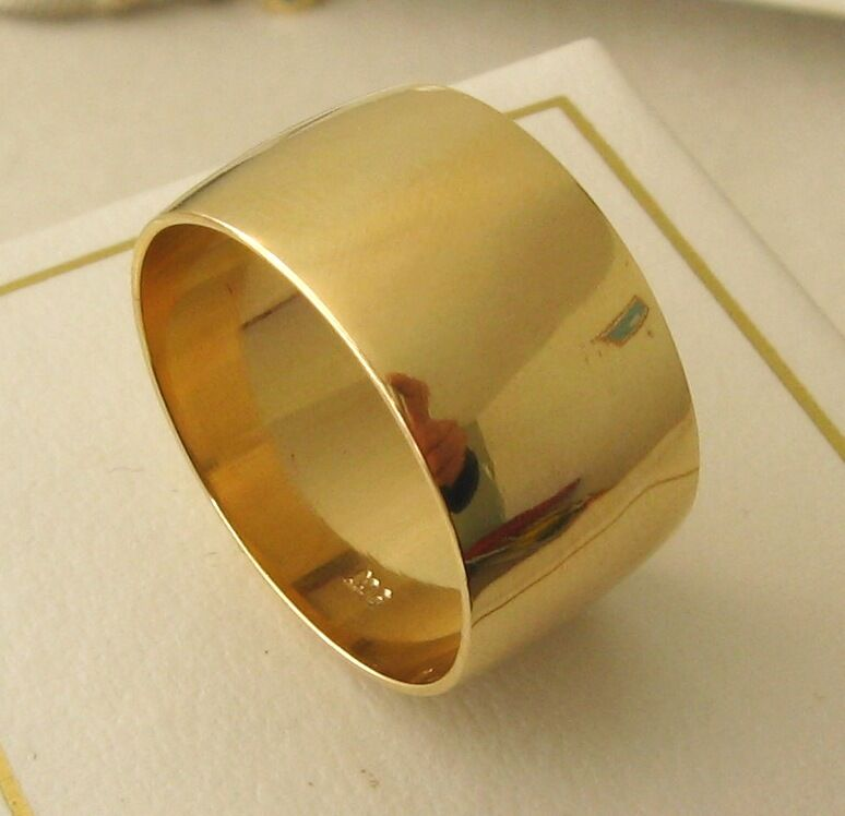 10 MM 9K 9ct FULL SOLID GOLD WIDE WEDDING BAND RING Size O 71 2 To Z 13