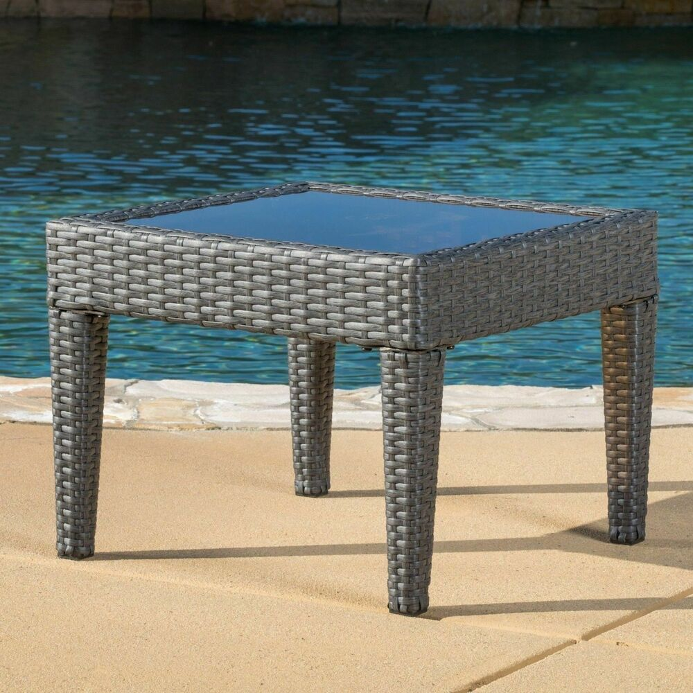 contemporary outdoor grey wicker side table ebay. Black Bedroom Furniture Sets. Home Design Ideas
