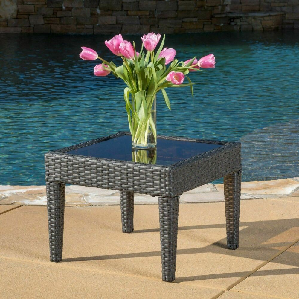 Contemporary outdoor grey wicker side table ebay for Outdoor patio side tables