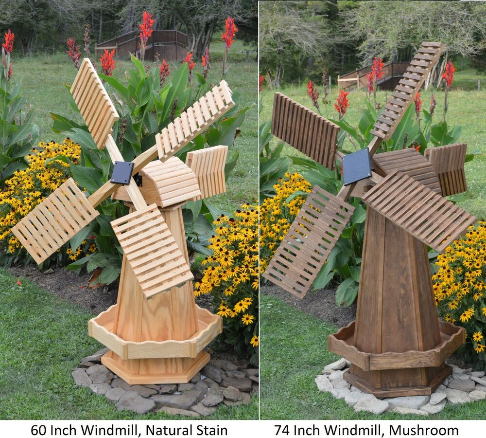 Amish made wooden dutch windmill yard decoration for Wooden garden decorations