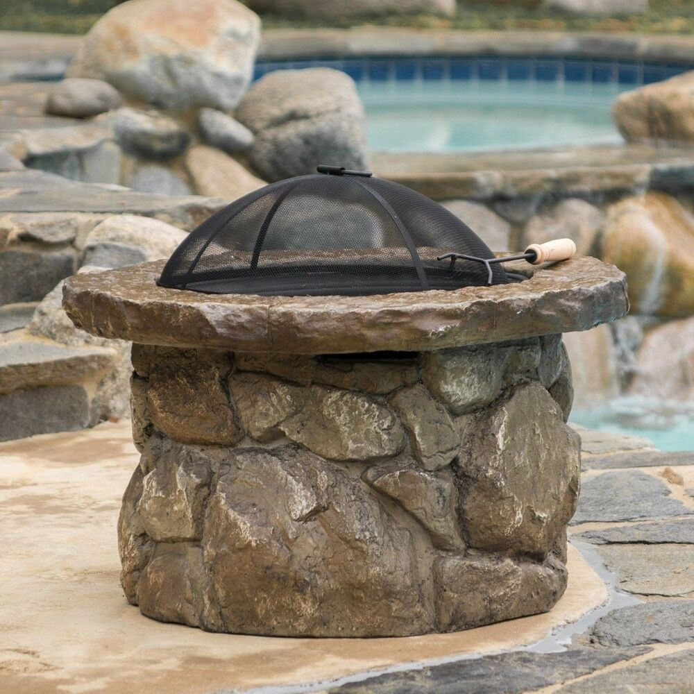 Outdoor Natural Stone Finish Fire Pit Ebay