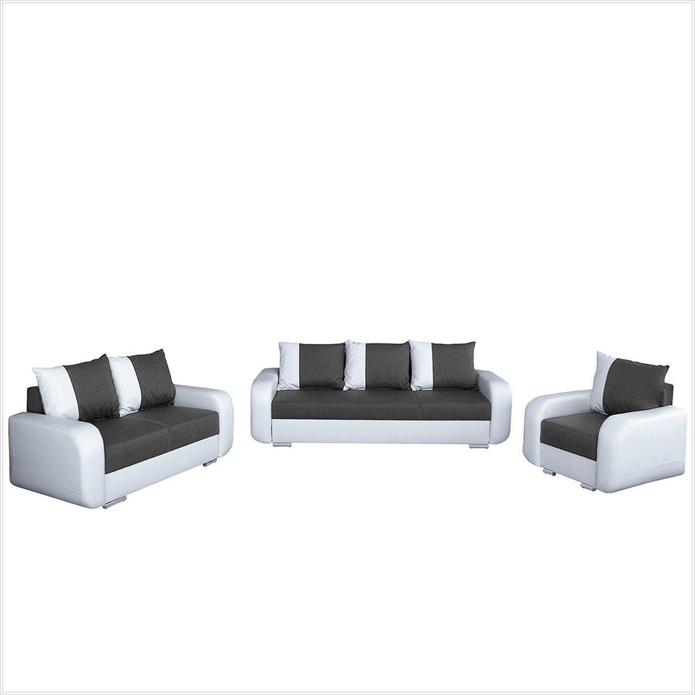 polstergarnitur bingo 3 2 1 mit schlaffunktion mit bettkasten sofas couch sofa ebay. Black Bedroom Furniture Sets. Home Design Ideas