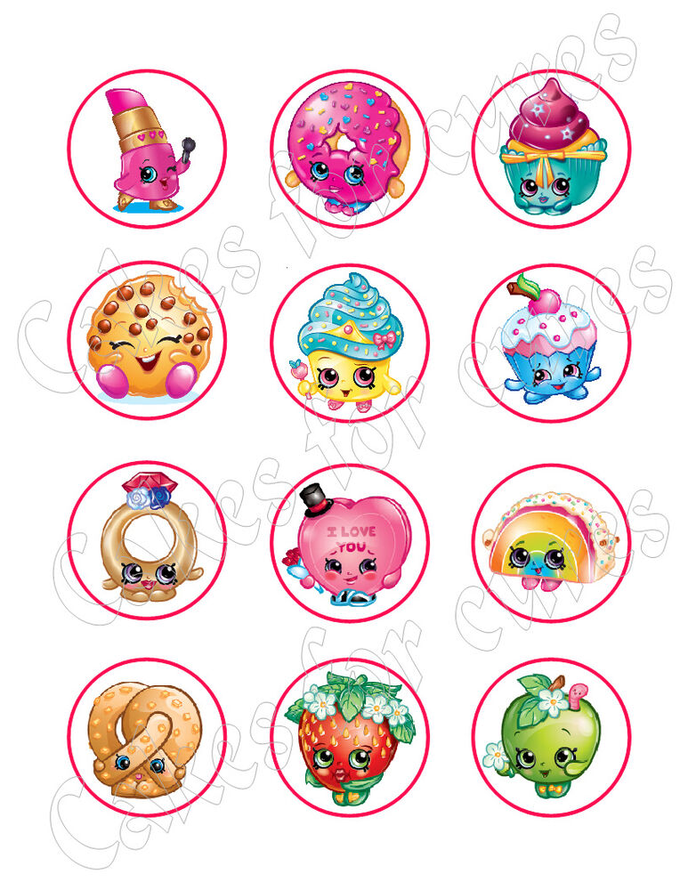 Shopkins Edible Cupcake Toppers Frosting Sheets Ebay