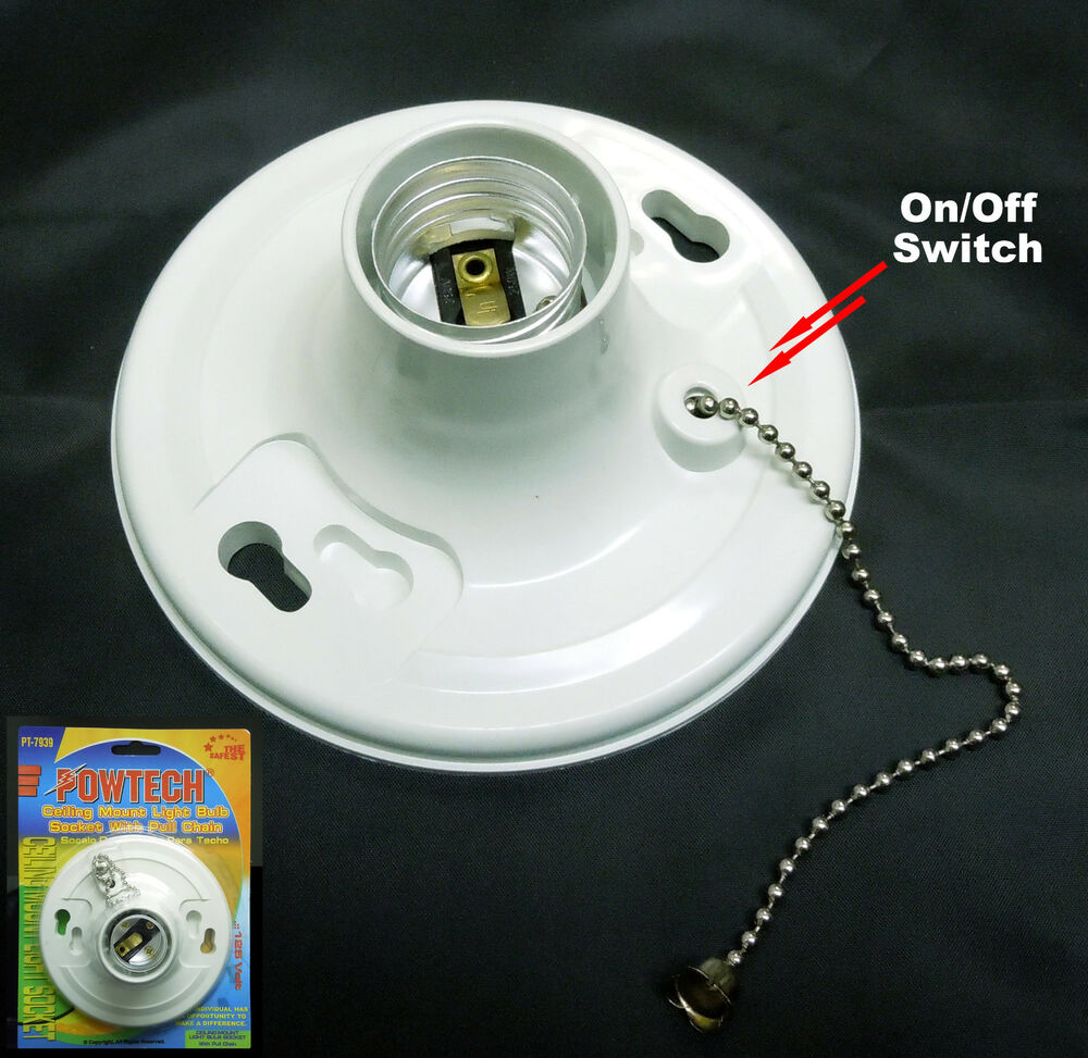 New Medium Base Ceiling Mount Light Bulb With Pull Chain
