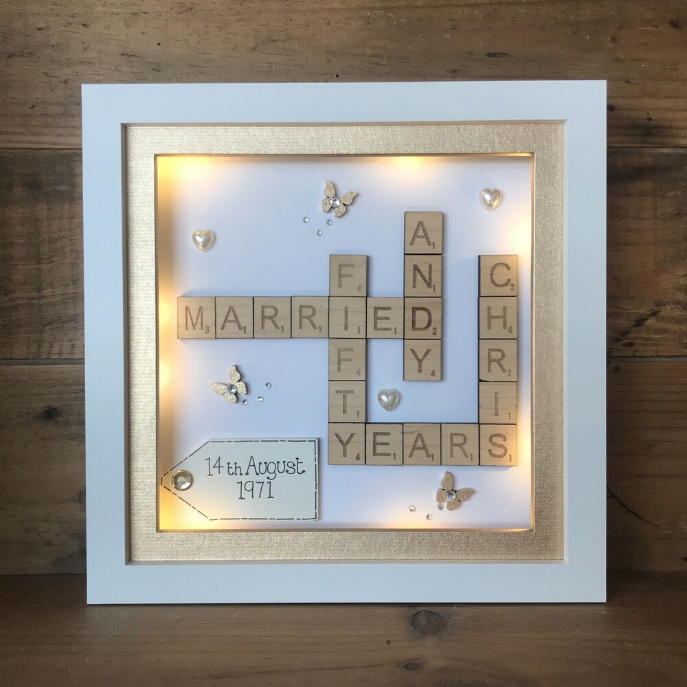Boxed Led Light 3d Frame Scrabble Special Wedding Silver
