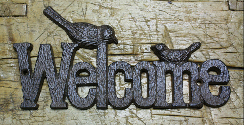 Rustic Antique Wall Decor : Cast iron antique rustic style birds welcome plaque sign