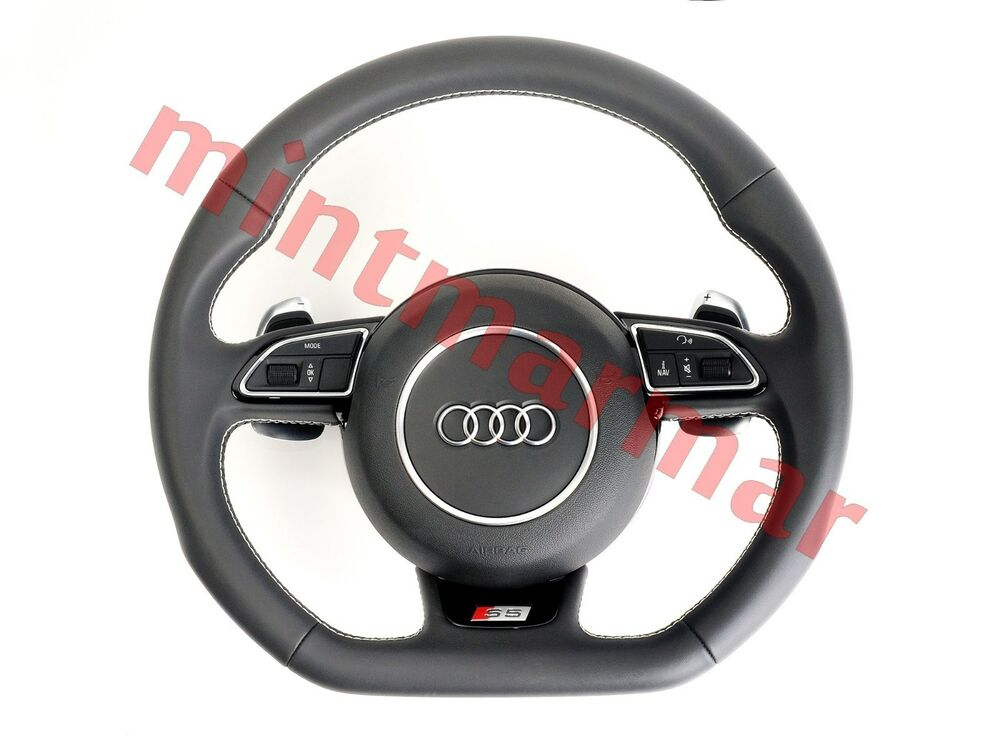 audi s5 steering wheel with airbag dsg mlf white stitch. Black Bedroom Furniture Sets. Home Design Ideas