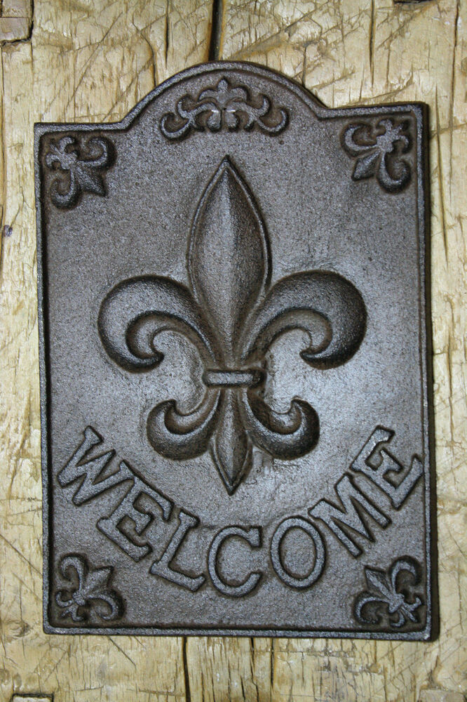 Large Cast Iron Fleur De Lis Welcome Plaque Finial Garden