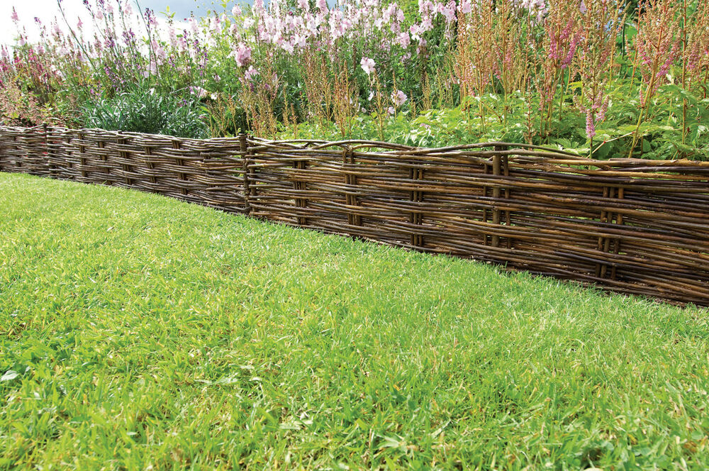 Woven willow hurdles lawn edging flower borders path for Path and border edging