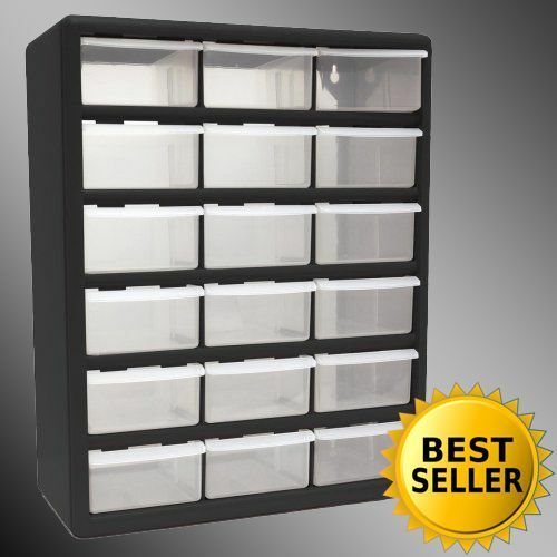 18 drawer clear plastic storage bins bedroom parts organizer boxes