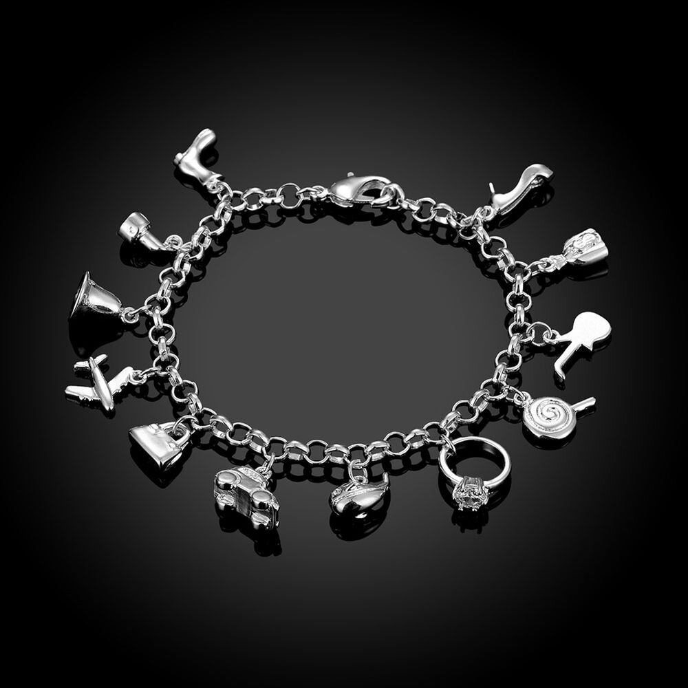 Silver Bracelets With Charms: 925 Sterling Silver Good Luck Lucky Charm Bracelet L149