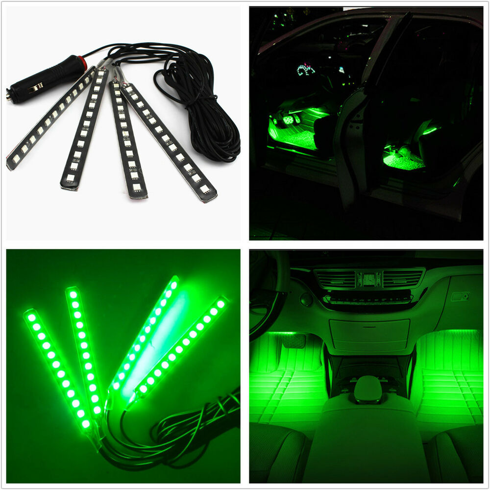 car suv interior footwell floor decor atmosphere light green led neon lamp strip ebay. Black Bedroom Furniture Sets. Home Design Ideas