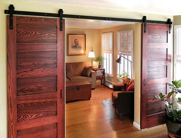 Double sliding barn door hardware rustic black barn for Sliding double doors