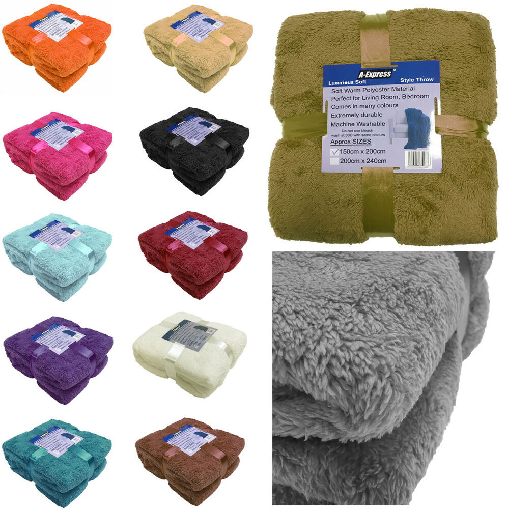 Large soft warm fleece cuddly teddy bear throw sofa double for Soft blankets and throws