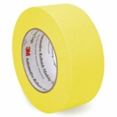 3M 06656 Crepe Paper Automotive Refinish Tape 2 Inch, 1 Roll, Yellow