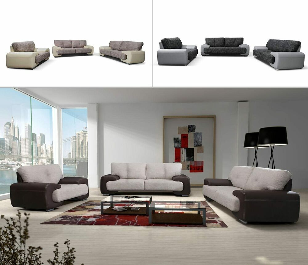 polstergarnitur carmen 3 2 1 gro e farbauswahl couch sofa wohnzimmer design ebay. Black Bedroom Furniture Sets. Home Design Ideas