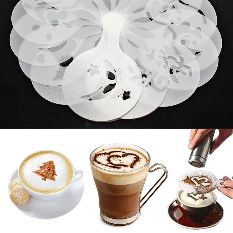 16pcs coffee cake cupcake plastic stencil template mold for Advanced molding decoration