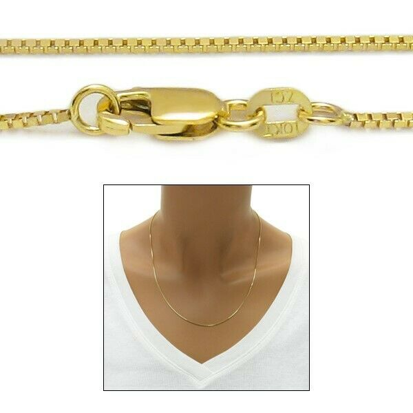 Guaranteed 10k Yellow Gold Box Chain Necklace 1mm W