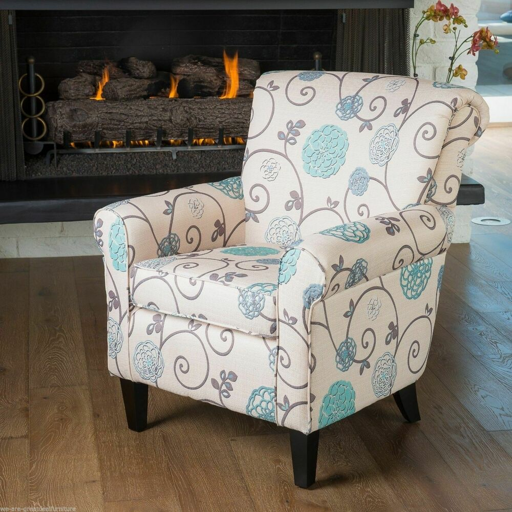 Elegant Design Linen Upholstered Club Chair w Floral