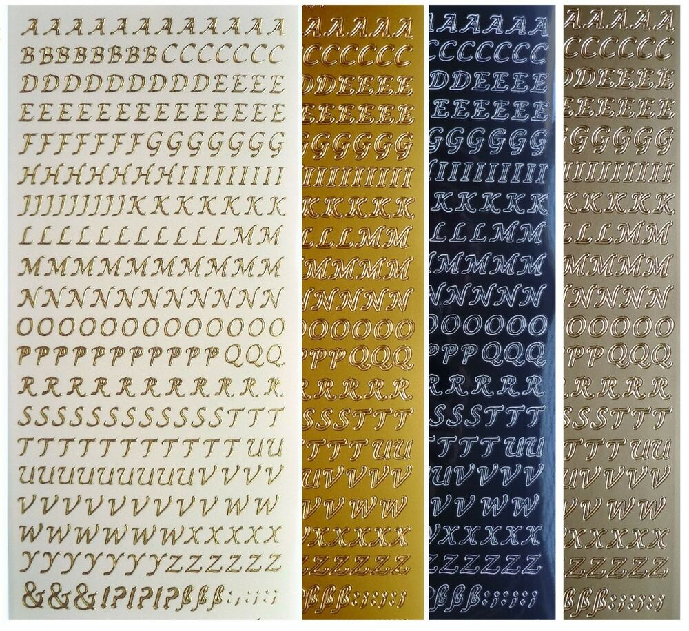 Silver And Gold Leters: MINI CAPITAL SCRIPT LETTERS Peel Off Stickers 6mm Alphabet